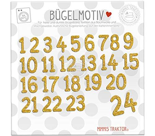 GLITZER Bügelbild 24 Adventskalender Zahlen zum Aufbügeln FARBWAHL, Farbe:Glitzer gold
