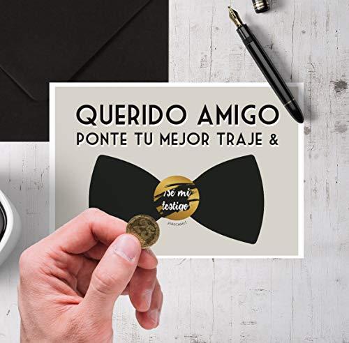 Tarjeta testigo boda hombre   Tarjeta rasca testigos novio