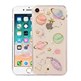 Topwin Space Case Compatible iPhone 6/6s, Bling Glitter Space Planet Sparkle Stars Moon Cosmos Outter Space Soft Flexible TPU Silicon Case for Apple iPhone 6/6s-Clear