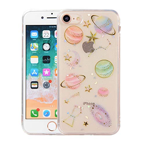 Topwin Space Case Compatible with iPhone 6/6s, Bling Glitter Space Planet Sparkle Stars Moon Cosmos Outter Space Soft Flexible TPU Silicon Case for Apple iPhone 6/6s-Clear