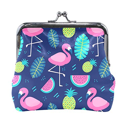 ANINILY Flamingo With Fruits And Plants Mini portamonete in...