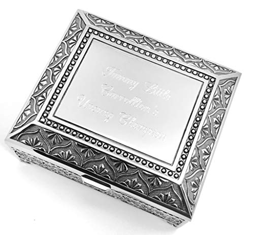 Newfavors Personalized Jewelry Box with 3 Lines Text Engraving - Engraved 4 inch Antique Jewelry Box Bridesmaid or Flower Girl Gift