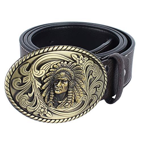 IPOTCH Cinturón de Cuero con Hebilla Oval Aleación de Zinc de Vaquero Occidental para Pantalones Casuales Negocio de Hombres - café, tal como se describe