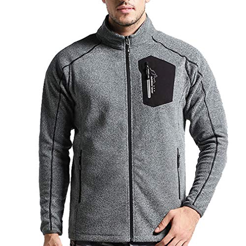 CIKRILAN Men's Outdoor Thermal Fleece Jacket Bodywarmer Full Zip Long Sleeve Casual Polar Fleece Coat Sweater Camping Travelling(XXL, Light Grey)