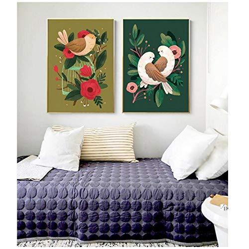 NIESHUIJING druk op canvas Verwarmende vogel Decoratief schilderwerk canvas Poster Decoratie muurkunst schilderij-60x80 cm Geen lijst