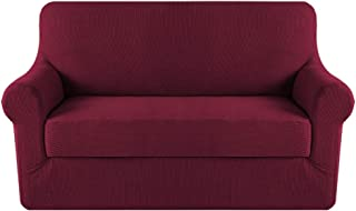 Best H.VERSAILTEX Stretch Sofa Covers 2 Piece for 2 Cushion Couch Covers Sofa Slipcovers Furniture Covers (Base Cover & Seat Cushion Cover) Feature Deluxe Textured Jacquard (Loveseat, Burgundy Red) Review