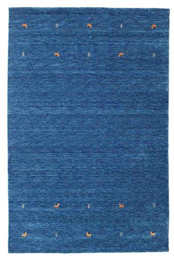 RugVista Teppich Gabbeh Loom Two Lines, Kurzflor, 190 x 290 cm, Rechteckig, Gabbeh, Wolle, Schlafzimmer, Wohnzimmer, Blau