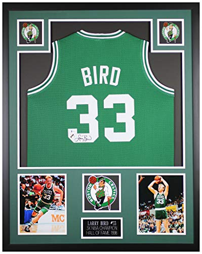 Larry Bird Autographed and Framed Green Boston Celtics Jersey - Beautifully Matted and Framed - Hand Signed By Bird and Certified Authentic by Beckett - Includes Certificate of Authenticity