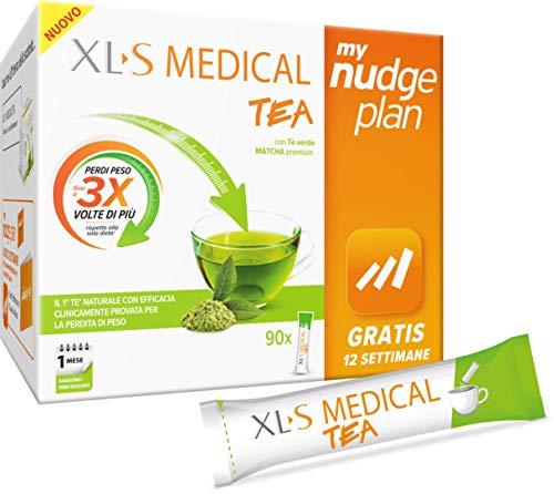XL-S MEDICAL Tea Tè Dimagrante Premium, Estratto di Tè Matcha per la Perdita di Peso, App My Nudge Plan inclusa, 30 Giorni di Trattamento, 90 Stick