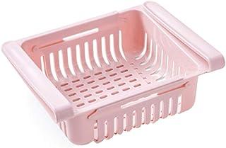 🍀Libobo🍀New Kitchen Article Storage Shelf Refrigerator Drawer Shelf Plate Layer (Pink)