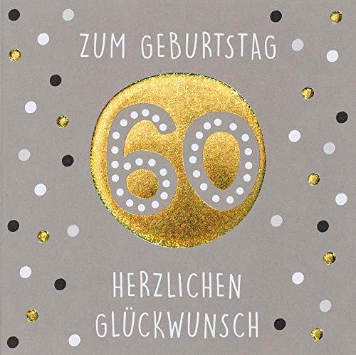 Geburtstagskarte zum 60. Geburtstag Black&Gold - Punkte - 15 x 15 cm