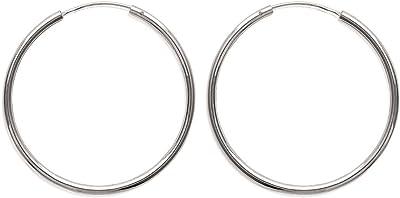 Orecchini a cerchio in argento 925/000, filo rotondo, 20 mm, larghezza 2 mm