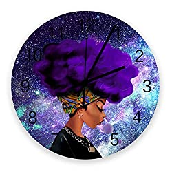 Wood Wall Clock Afro African American Woman Lady Purple Galaxy Space 12 Inch Round Silent Non-Ticking Clock Easy to Read Decorative for Home Office School