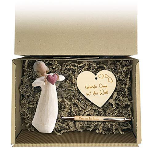 Geschenkset 3-teilig 'Besondere Oma' / Willow Tree Figur/Windlicht/Oma/Muttertag/Geburtstag