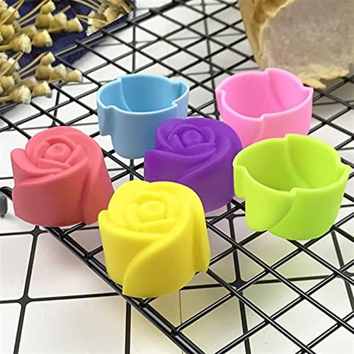 Molde de rosa grado de calificación de calificación de silicona mini magdalena herramienta de pastel de muffin galletas para hornear moldes de chocolate jabón de pastelería decoración de pastelería