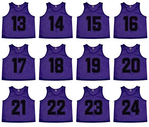 Oso Athletics Sets von 12 (1–12, 13–24, 25–36, 37–48) Premium-Polyester-Mesh-Trikots (lila (#13–24), groß).