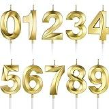 BBTO 10 Piezas Velas Numerales de Pastel Velas de Cumpleaños Número Decoración Topper de Pastel de Número 0-9 con Purpurina para Suministro Celebración de Fiesta Aniversario de Reuniones (Oro)