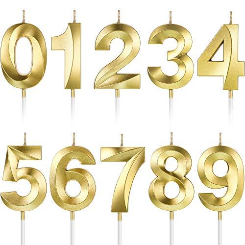 10 Piezas Velas Numerales de Pastel Velas de Cumpleaños Número Decoración Topper de Pastel de Número 0-9 con Purpurina para Suministro Celebración de Fiesta Aniversario de Reuniones (Oro)