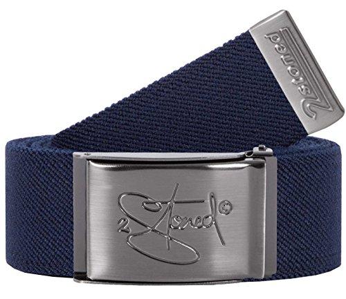 2Stoned Stretch-Gürtel elastisch Classic Matt gestanzt, Navy, One Size, 130cm - 150cm dehnbar, für Damen und Herren