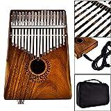 SFFSM 17 Teclas EQ Kalimba Acacia Pulgar Piano Recogida Enlace Altavoz eléctrico con Bolsa de Cables 17 Teclas Calimba Piano kamfer (Color : Walnut Color)