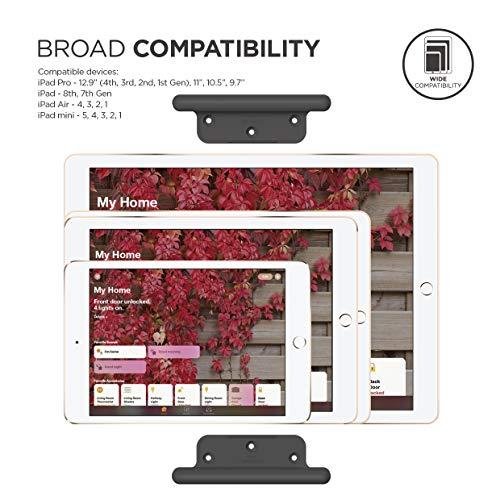 elago Home Hub Mount Tablet Wandhalterung Kompatibel mit Apple iPad, iPad Air, Samsung Galaxy Tab, meisten Tablets – Einfaches Montieren, Kratzfestes Silikon, Kabelmanagement Inclusive (Dunkelgrau)