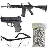 Airsoft-Pack Duo Fusil et Pistolet à Billes MR700 et Cs45 Chief à Ressort/Spring/Rechargement Manuel (0.5 Joule)/avec Accessoires