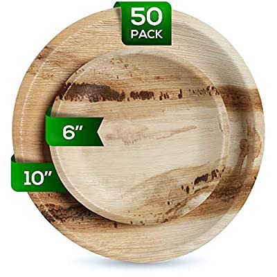 Eco Leaf Round Palm Leaf Plates Set | Pack of 50-(25) Dinner Plates and (25) Salad Plates | Ecofriendly Disposable Dinnerware | Heavy Duty Biodegradable Party Utensils for Wedding, Camping & More