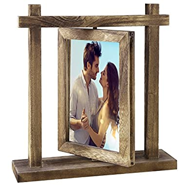 MyGift Torched Wood Tabletop Double-Sided Swivel 4 X 6 Picture Frame Photo Holder