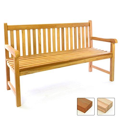 Divero 3-Sitzer Bank Holzbank Gartenbank Sitzbank 150 cm – zertifiziertes Teak A++ Bestes hochwertiges Teakholz unbehandelt hochwertig massiv – Reine Handarbeit – wetterfest
