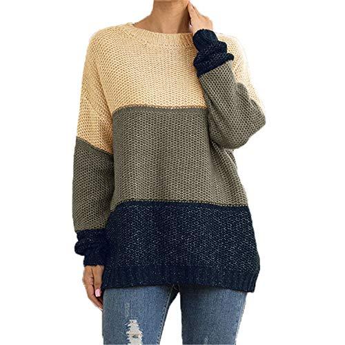 Chenlao7gou621 Herbst- Und Wintermode Gestreifter Color-Block-Pullover-Pullover Damen-Strickpullover Mit Dicken Linien