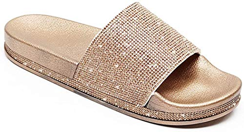Damen Mädchen Sandalen Sommer Hausschuhe Flip Flops Mode Flache mit Strass Glitzer für Frauen Sommer Flip Flops Casual Strand Sandale Flache Schuhe (EU 40, Mehrfarbig)