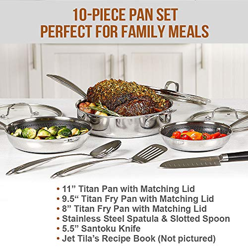 Copper Chef Titan Pan, Try Ply Stainless Steel Non-Stick Frying Pans, 10-Piece Cookware Set with Recipe Book (Copper Chef Titan Pan 10 Piece Set)