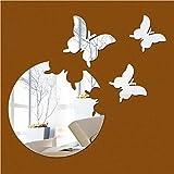 Lunji Miroir Sticker Mural, Acrylique Autocollant Miroir- Mural Deco (Argent)