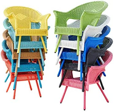 Best BrylaneHome Roma All-Weather Wicker Stacking Chair w/Free seat&Back Cushion