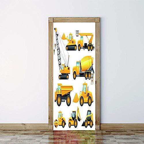 Modern Tool Geel auto Kraan Heftruck 3D Deur Sticker Creatieve Home Decoratie Woonkamer Slaapkamer Voordeur Verwijderbare Vinyl PVC muurschildering 95x215cm