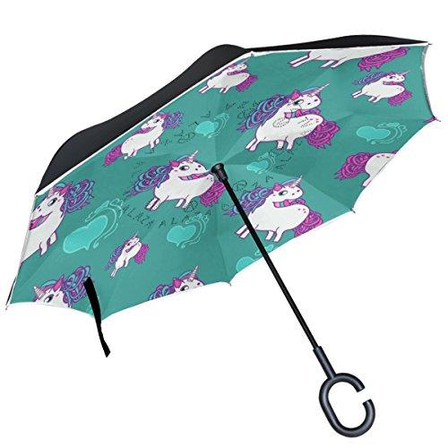 Alaza Eenhoorn Met Hartjes Patroon Blauw Omgekeerde Dubbele Laag Winddicht Omgekeerde Paraplu