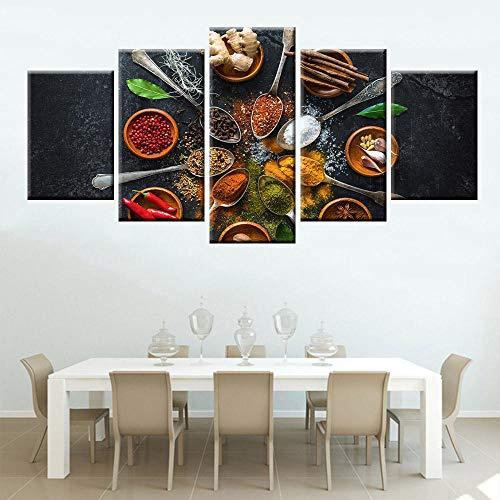 TJJS Cuadro sobre Lienzo Cinco Pinturas al óleo de Alta definición, Carteles de Cilantro y Especias, Arte de Pared de decoración de Cocina