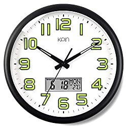 Kpin Silent Non-Ticking Large 14-Inch Wall Clock Night Lights for Indoor/Bedroom of Large Number Battery Operated with  LCD Display(Black, 14 LCD)