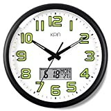 Kpin Silent Non-Ticking Large 14-Inch Wall Clock Night Lights for Indoor/Bedroom of Large Number Battery Operated with  LCD Display(Black, 14' LCD)