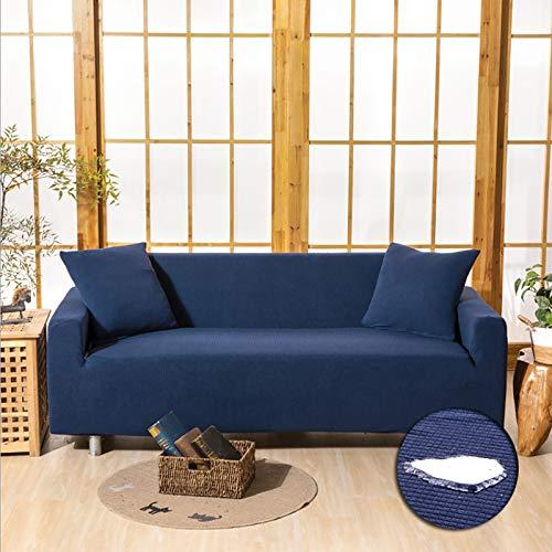 Resistente Al Agua Funda De Sofá Elasticidad Couch Cove,Con No-resbalón Correas Elásticas Funda De Sofá Lavable Protector De Muebles 3 Cojín Sofá Funda De Sofá Para Niños Perro-Azul oscuro 4 asientos