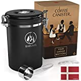vac coffee - BARVIVO Stainless Steel Coffee Canister - Large - Keep Your Best Coffee Beans and Grounds Fresh for Months - Airtight Container with CO2-release Valve, an Engraved Date Tracker and Measuring Scoop.
