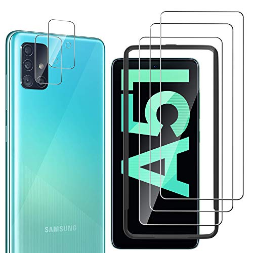 laxikoo 3 Pack Protector de Pantalla para Samsung Galaxy A51, 2 Pack Protector de Lente de cámara, Anti-Arañazos Dureza 9H Cristal Templado [Marco Instalación Fácil] HD Vidrio Templado Samsung A51