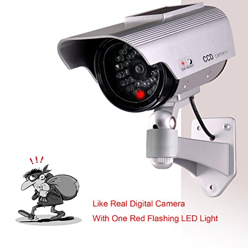 Dummy Fake Security Camera,ISEEUSEE Solar Powered Fake Surveillance Camera with Flash LED Dummy Bullet Simulated CCTV Camera,Indoor Outdoor Use Good for Home/Office/Shop/ Garage - Silver Color