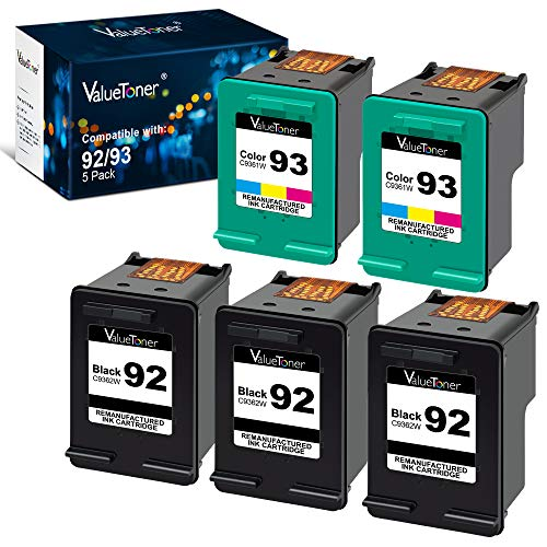 Valuetoner Remanufactured Ink Cartridge Replacement for HP 92 93 C9362WN C9361WN for Deskjet 5420 5420v 5440 5440v 5440xi 5442 5443 Photosmart 7850 C3100 C3110 (3 Black, 2 Tri-Color, 5 Pack)