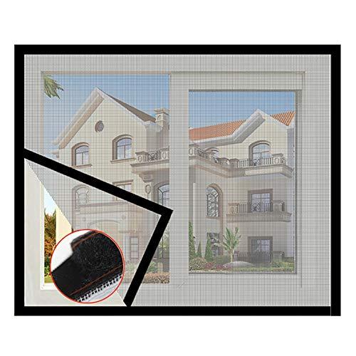 DM&FC Anti Bug Fly Fliegengitter Fenster Net Mesh Curtain,Haushalt Selbst-klebstoff Fliegengitter Fenster,Voller Rahmen Klettband Demontage Grau 120x120cm/47x47inch