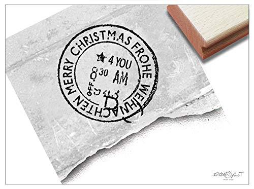 Stempel Weihnachtsstempel VINTAGE Frohe Weihnachten, Merry Christmas - Poststempel Shabby chic Karten Geschenkanhänger Geschenk Deko - zAcheR-fineT