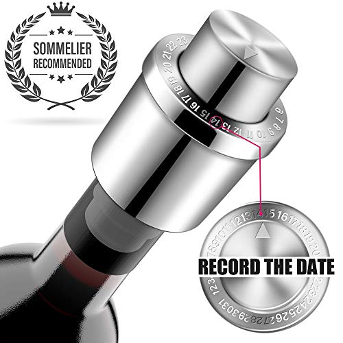 Wine Stoppers, GiniHomer Stainless Steel Vacuum Wine Stoppers with Time Scale Record, Vacuum Beverage Bottle Saver with Inner Rubber Sealer Pump Cup
