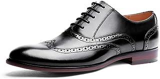 Kirabon Zapatos de Cuero, Bloque, Zapatos de Hombre tallados, Zapatos de Caballero, Zapatos de Hombre Hechos a Mano (Color : Negro, Size : 45)