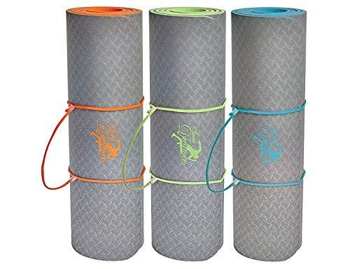 SweetDreamers Sport Esterilla de Yoga / Colchoneta Gimnasia / Extra Gruesa: 6 y 10mm / Ecológica / 183 x 61cm / Material de TPE / Antideslizante (verde, 183 x 61 x 1,0 cm)