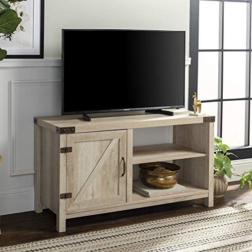 WE Furniture Modern Farmhouse Barn DoorWood Stand for TV's up to 48' Living Room Storage, 44', White